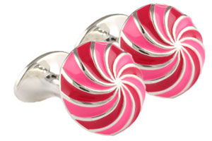 Mousie Bean Enamelled Cufflinks Umbrella 134 Pink/Fuchsia