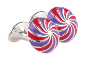 Mousie Bean Enamelled Cufflinks Umbrella 134 Purple/Fuchsia