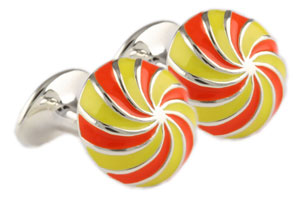 Mousie Bean Enamelled Cufflinks Umbrella 134 Yellow/Orange