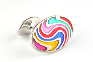 Mousie Bean Enamelled Cufflinks Zig Zag 137 Multicolor