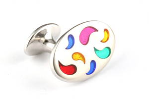 Mousie Bean Enamelled Cufflinks Paisley 138 Multicolor