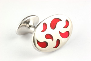 Mousie Bean Enamelled Cufflinks Paisley 138 Tonal Red