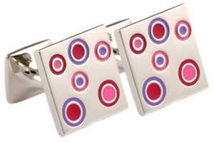 Mousie Bean Enamelled Cufflinks Small Concentric Circles 142 Multi Purple