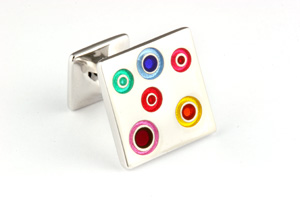 Mousie Bean Enamelled Cufflinks Small Concentric Circles 142 Multicolor