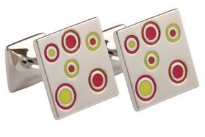 Mousie Bean Enamelled Cufflinks Small Concentric Circles 142 Red/Yellow/Orange