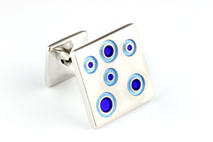 Mousie Bean Enamelled Cufflinks Small Concentric Circles 142 Tonal Blue