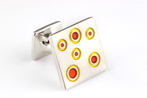 Mousie Bean Enamelled Cufflinks Small Concentric Circles 142 Tonal Yellow