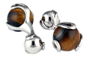 Mousie Bean Crystal Cufflinks Ball Crusher 143 Cats Eye