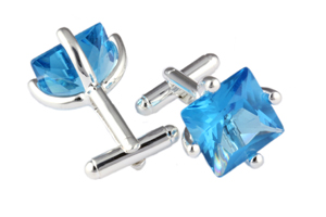 Mousie Bean Crystal Cufflinks CZ Square 146 Aqua