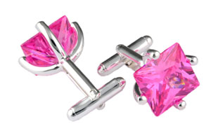 Mousie Bean Crystal Cufflinks CZ Square 146 Pink
