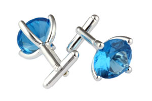 Mousie Bean Crystal Cufflinks CZ Round 147 Aqua