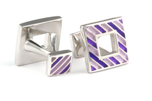 Mousie Bean Enamelled Cufflinks Polo Stripes 149 Tonal Mauve