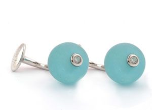 Mousie Bean Crystal Cufflinks CZ Ball 150 Aqua