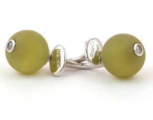 Mousie Bean Crystal Cufflinks CZ Ball 150 Olive
