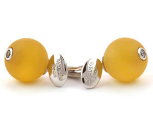 Mousie Bean Crystal Cufflinks CZ Ball 150 Yellow