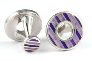 Mousie Bean Enamelled Cufflinks Polo Round 152 Tonal Purple