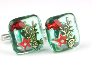 Mousie Bean Enamelled Cufflinks Aquarium 154