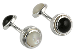 Mousie Bean Sterling Cufflinks Black Agat M.O.P. 155