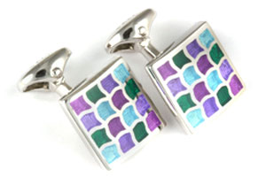 Mousie Bean Enamelled Cufflinks Wave 162 Green Purple Blue
