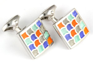 Mousie Bean Enamelled Cufflinks Wave 162 Orange Blue Grey