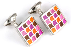 Mousie Bean Enamelled Cufflinks Wave 162 Purple Brown Orange