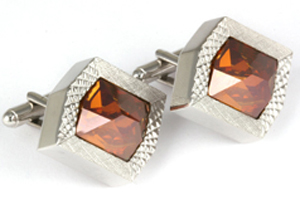 Mousie Bean Crystal Cufflinks Rectangular 70's 164 Copper Crystal