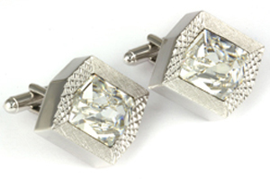Mousie Bean Crystal Cufflinks Rectangular 70's 164 Clear