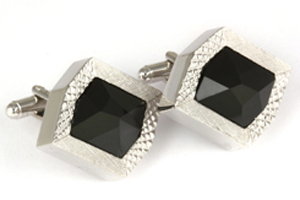 Mousie Bean Crystal Cufflinks Rectangular 70's 164 Jet