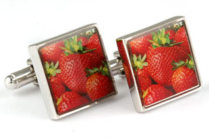 Mousie Bean Picture Cufflinks Strawberry