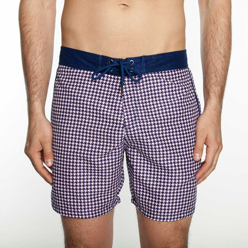 6103f36491 Mr.Swim The Chuck Board Houndstooth Shorts Swimwear Navy : Buy Men's ...