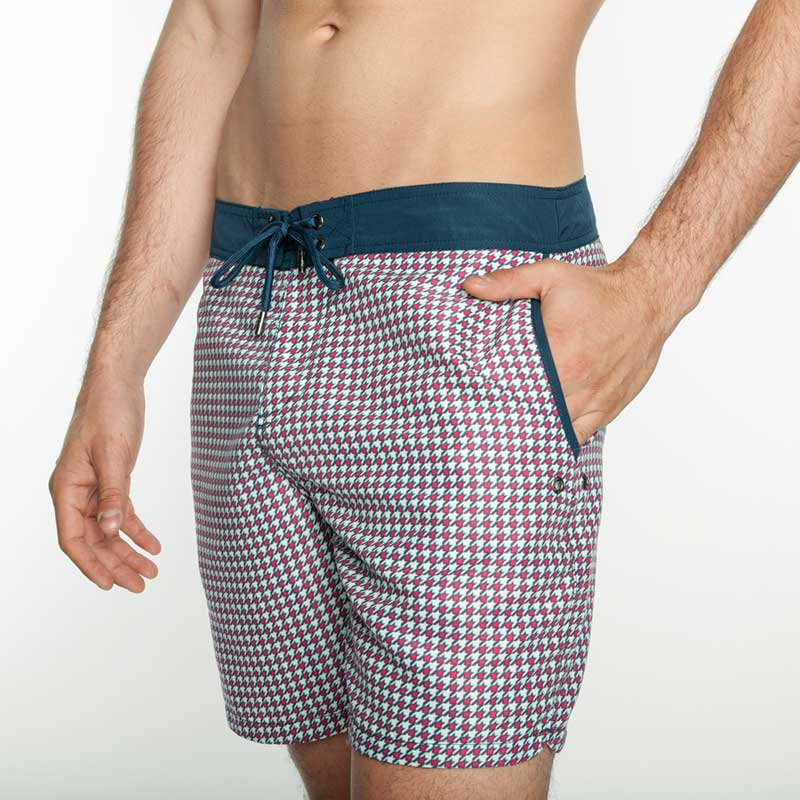 96163a7549 Mr.Swim The Chuck Board Houndstooth Shorts Swimwear Pink : Buy Men's ...