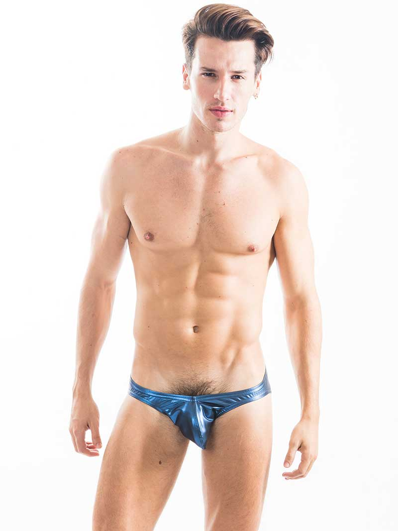 68a0e75125 N2N Bodywear Liquid Skin Bikini Underwear Metallic Blue B1 [B1 ...