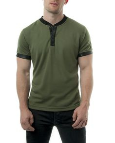 Nasty Pig Twin Stripe Henley Short Sleeved T Shirt Green 124...