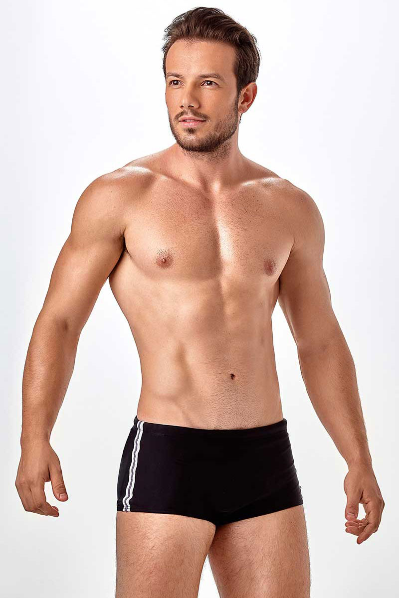 ec05fe1bfd New Beach Brazilian Sunga Slim Recorte Side Striped Square Cut Trunk  Swimwear Black