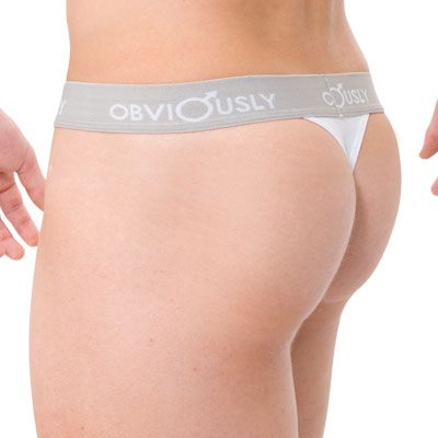 Obviously Pouch Thong Low Rise Underwear White PLT