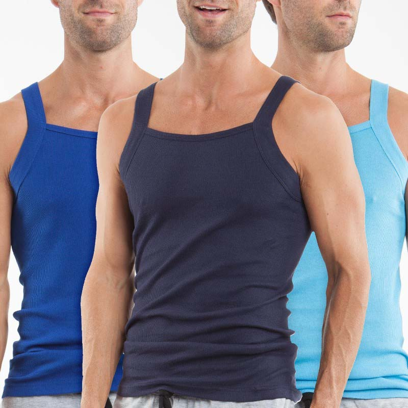 41d799c03c7b1d Papi  3 Pack  Premium Cotton Square Neck Tank Top T Shirt Blue+Light ...