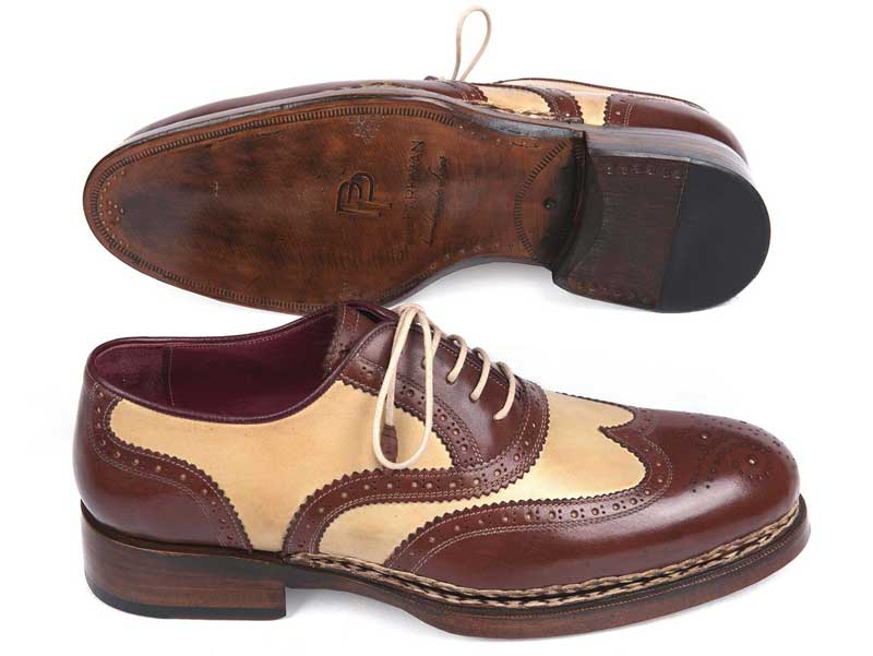 5690969e13ea Paul Parkman Triple Leather Sole Goodyear Welted Wingtip Brogue Shoes Brown    Beige 095BEJ