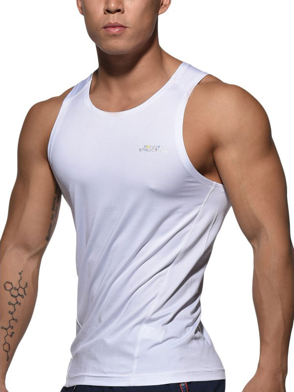 28d773add05 Private Structure Be-Fit Sweat Body Fit Stretch Singlet Tank Top T Shirt  White BSTMT3480BT