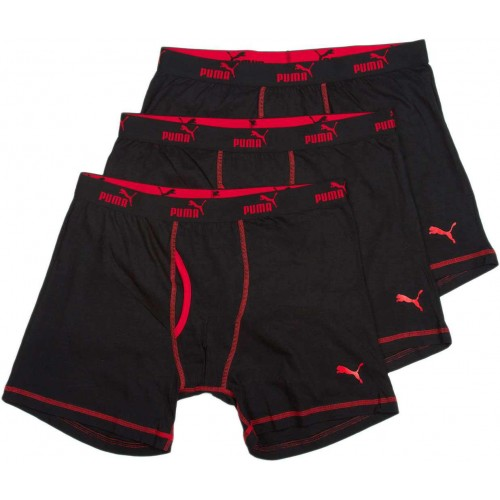 Clearance [3 Pack] Puma Athletic Fit Super Soft Boxer Brief Underwear Black/Red VM3302-013