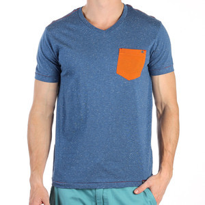 PX Clothing Logan V Neck Short Sleeved T Shirt Blue PX1339K