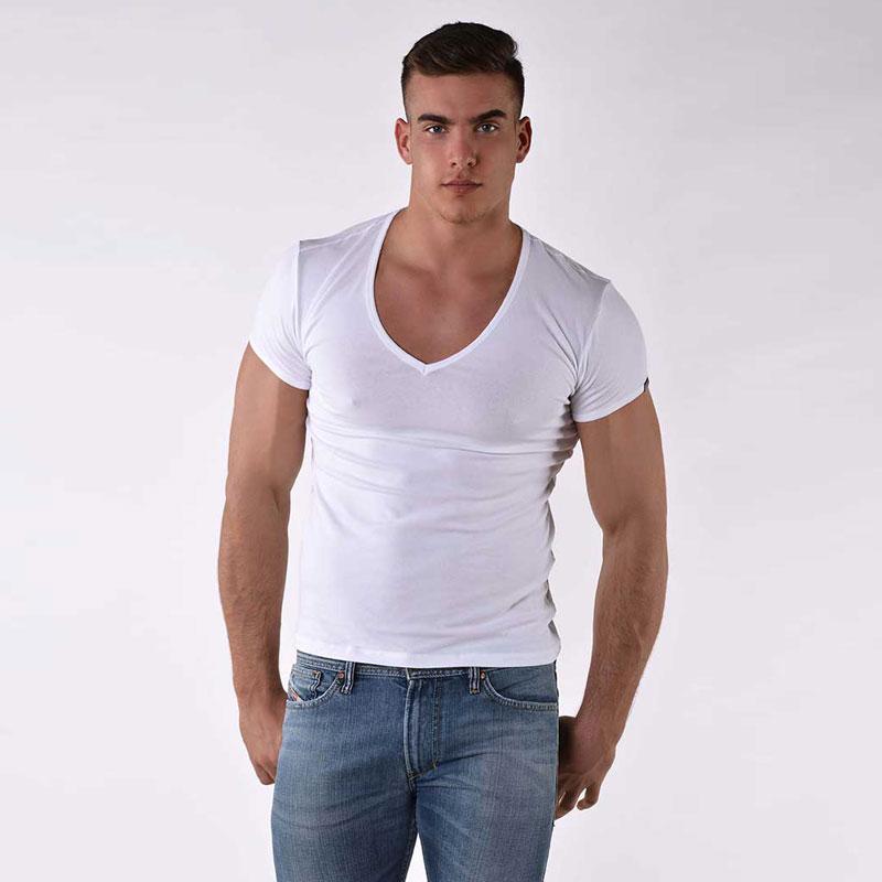 33d7a459 Roberto Lucca Slim Fit Deep V Neck Short Sleeved T Shirt White 70223-00010
