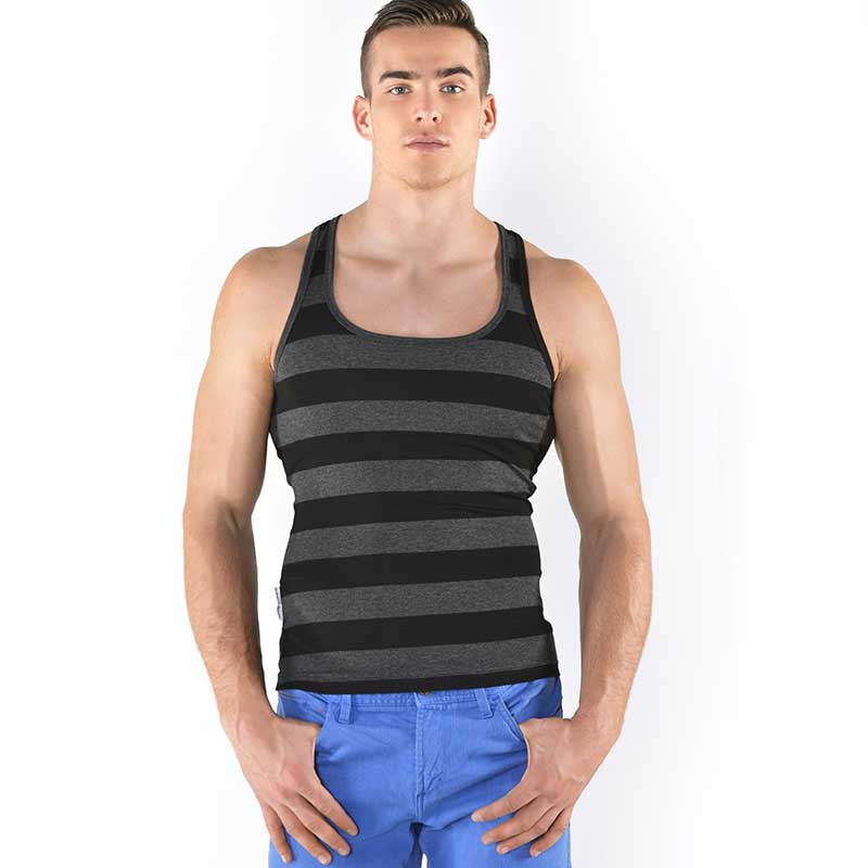34ec5166f7 Roberto Lucca Stripe Square Neck Tank Top T Shirt Black/Grey 80003-30020