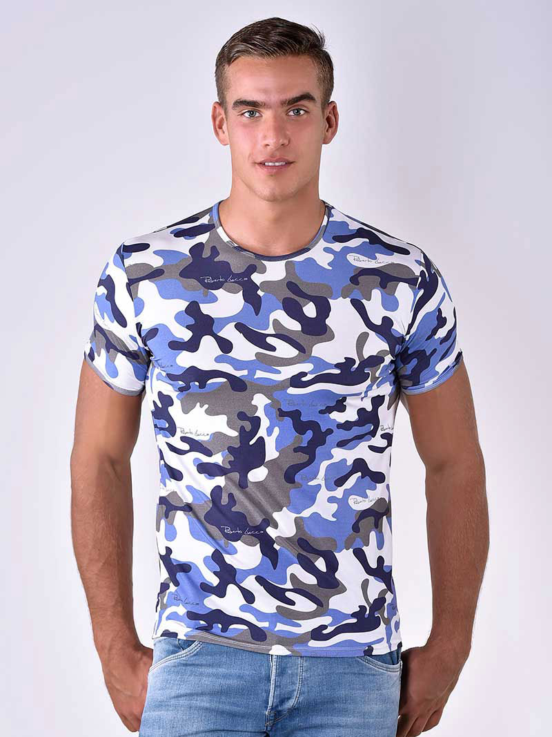 adc5c4c69 Roberto Lucca Slim Fit Camo Print Short Sleeved T Shirt Blue 80218-10133.  Hover to zoom