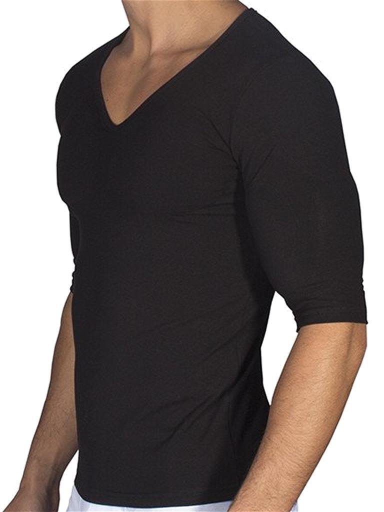 dea01b5e Rounderbum Padded Muscle V Neck Short Sleeved T Shirt Black RBMS01 ...