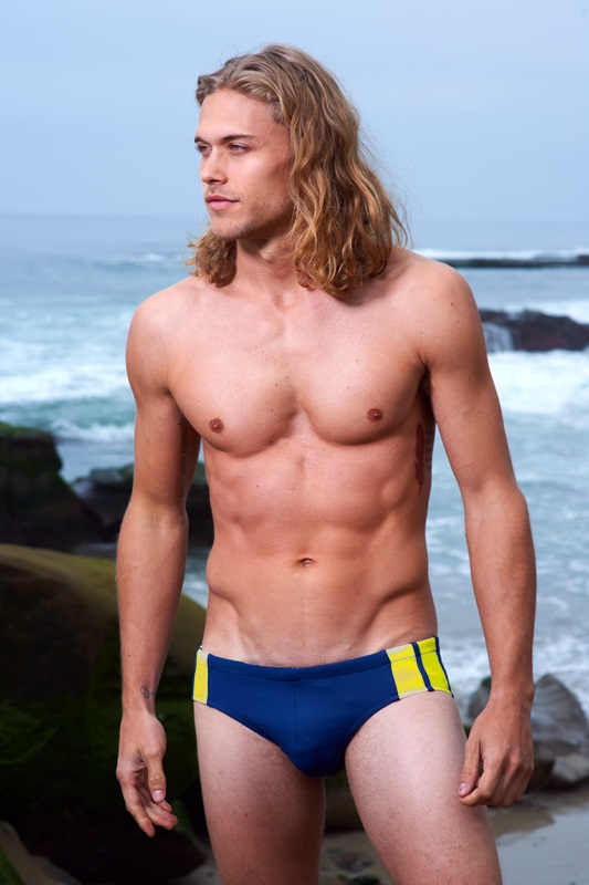 Sauvage Racer Brief Side Stripe Swimwear Navy/Yellow M001