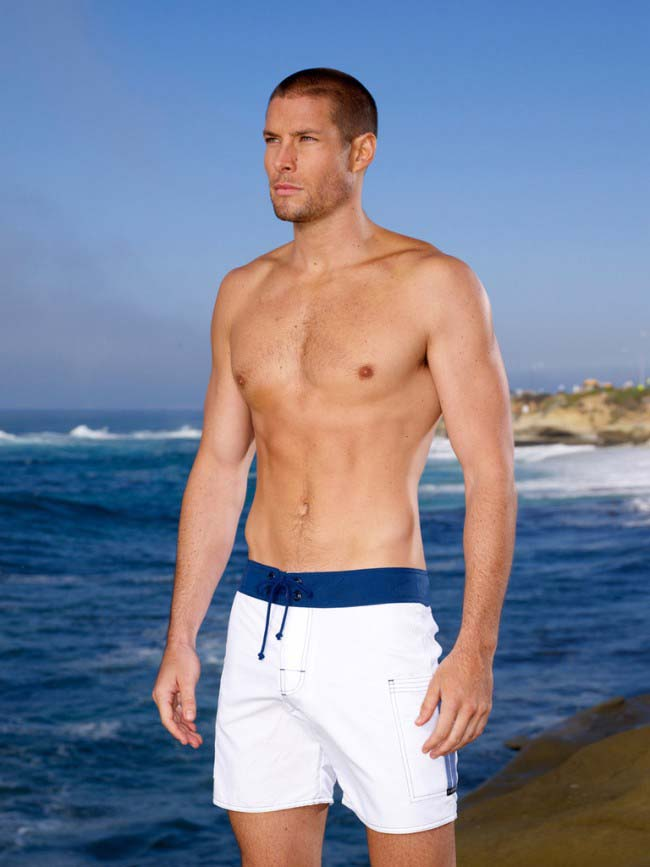 Sauvage Banded Pocket Boardshorts Beachwear White/Navy M024
