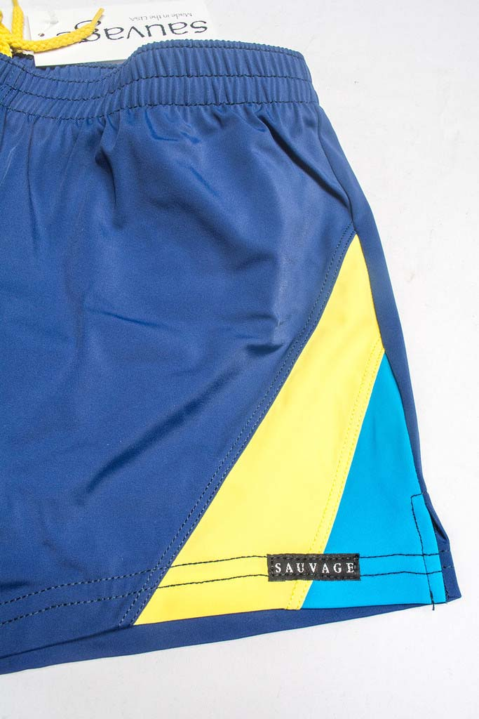 357e0c07ac Sauvage Color Splice 80s Square Cut Trunk Swimwear Navy/Yellow/Turquoise