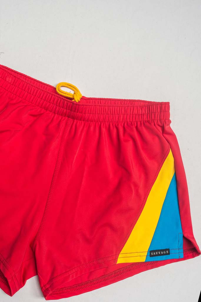 4d61e15116 Sauvage Color Splice 80s Square Cut Trunk Swimwear Red/Yellow/Turquoise