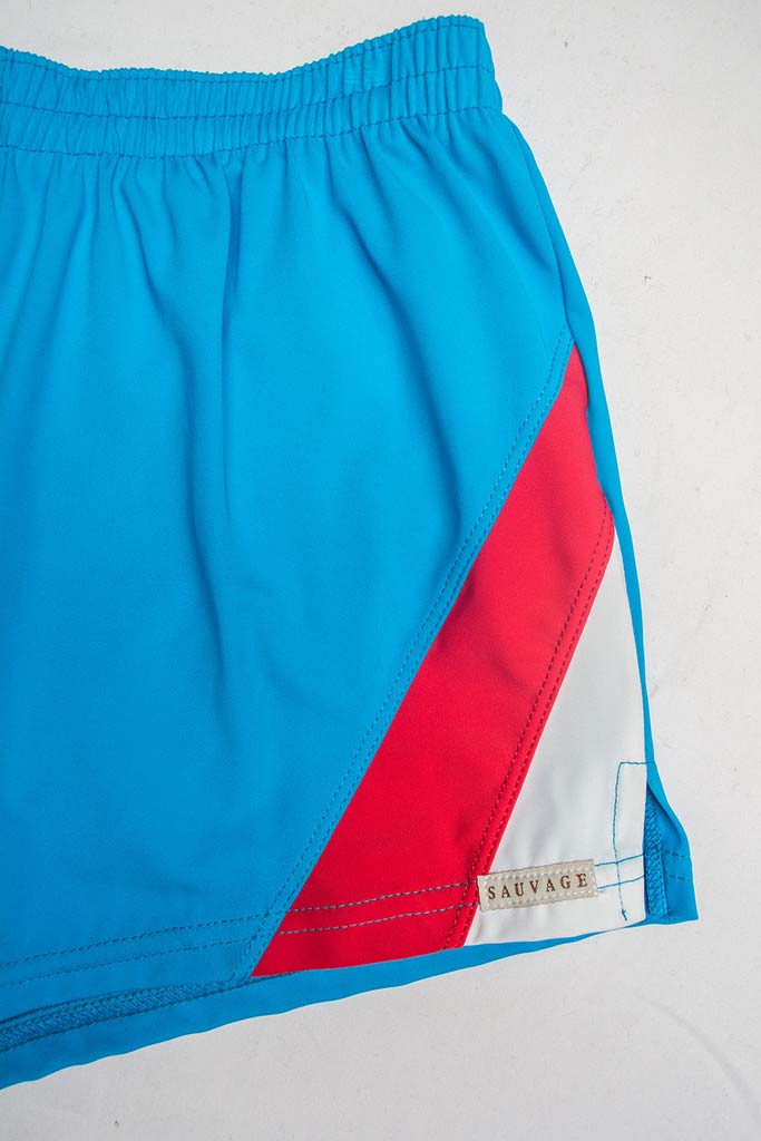 e49d06ab03 Sauvage Color Splice 80s Square Cut Trunk Swimwear Turquoise/Red/White