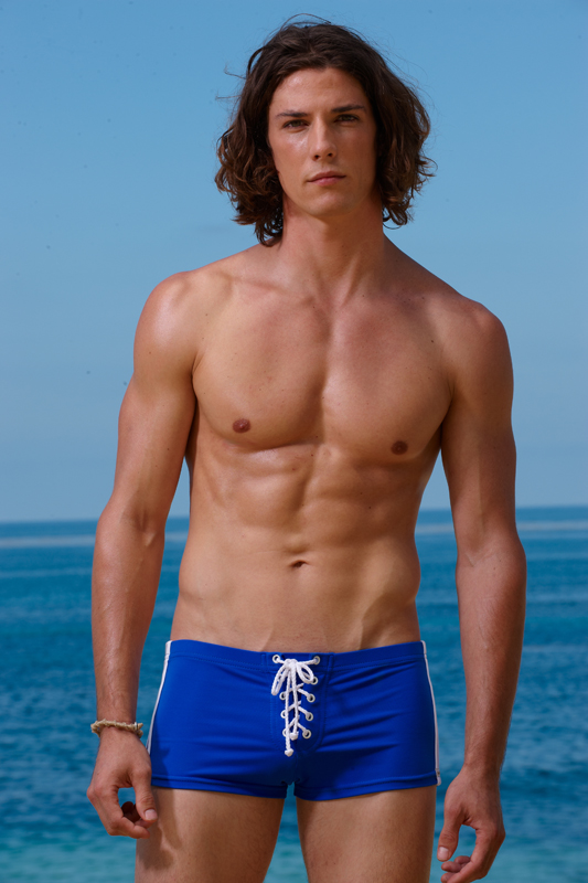 Sauvage Football Lace Up Square Cut Trunk Swimwear Cobalt/White